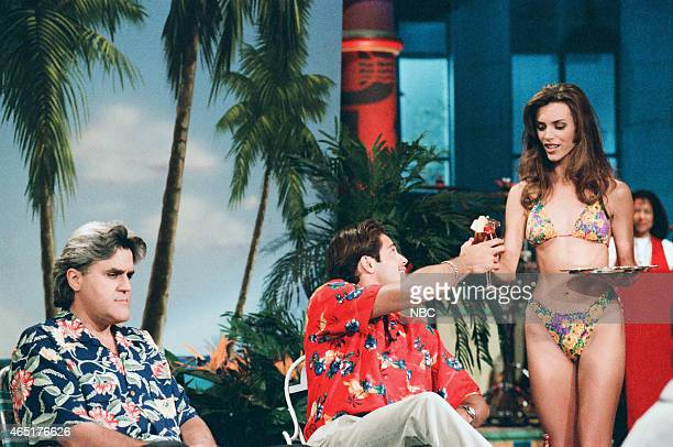 Host Jay Leno and singer David Charvet during the 'Good Vacation/ Bad Vacation' sketch on June 11 1996