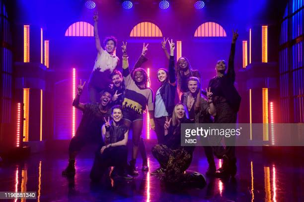 The cast of the Broadway production Jagged Little Pill perform on January 27 2020