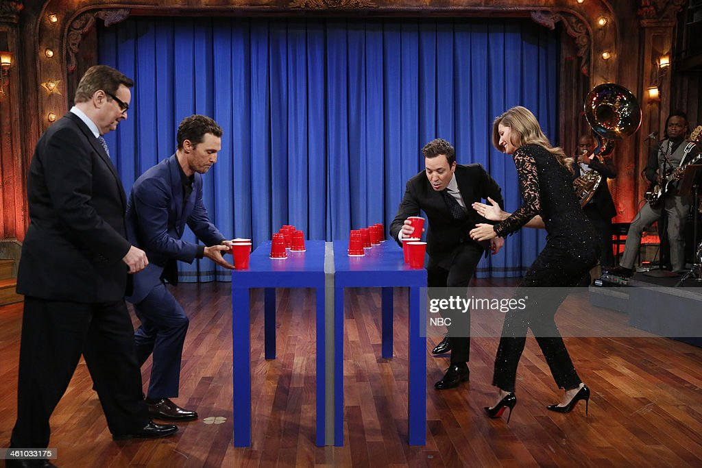 Steve Higgins, Matthew McConaughey, Jimmy Fallon Gisele B?ndchen play Flip Cup on Monday, January 6, 2014 --