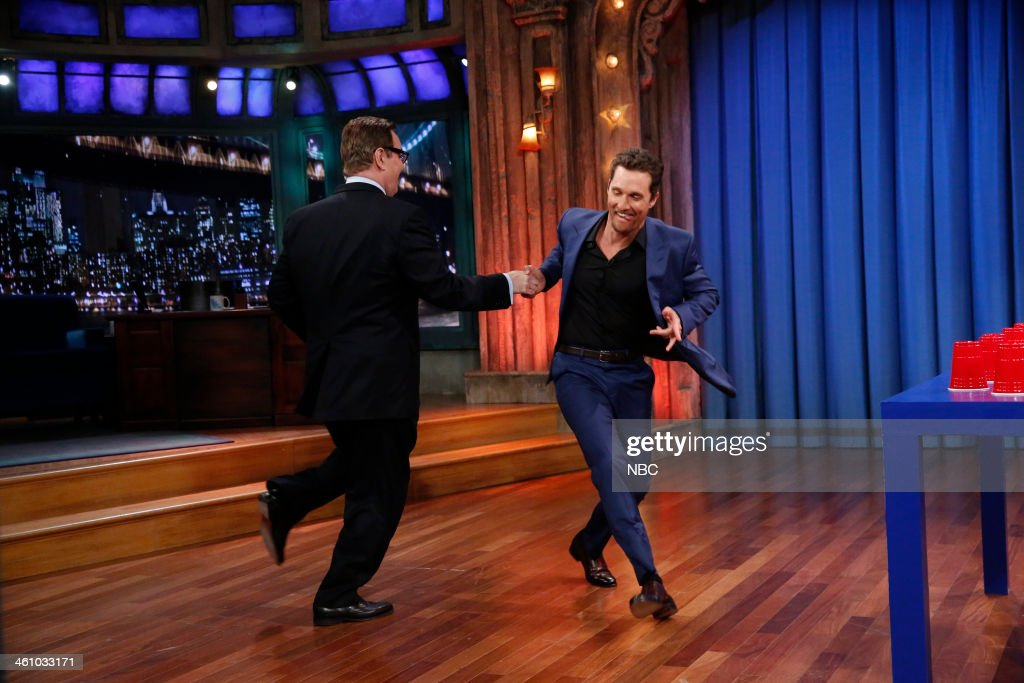 Steve Higgins, Matthew McConaughey play Flip Cup on Monday, January 6, 2014 -- (Photo by: Lloyd Bishop/NBC/NBCU Photo Bank via Getty Images)..