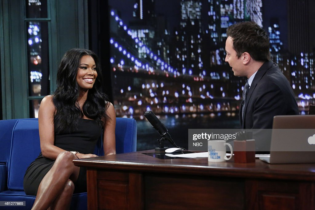 Gabrielle Union with host Jimmy Fallon during an interview on Tuesday, January 7, 2014 --