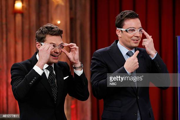 Jimmy Fallon and Ryan Seacrest compete in a game of rock paper scissors pie on Tuesday January 7 2014
