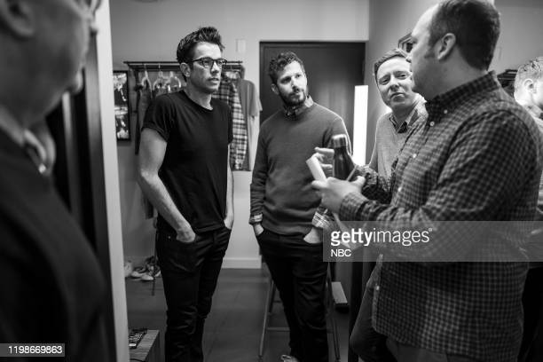 Episode 947 -- Pictured: John Mulaney, Andy Samberg, Rob Klein and John Lutz backstage on February 4, 2020 --