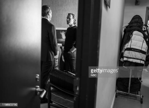 MEYERS Episode 948 Pictured Host Seth Meyers talks with actor Ewan McGregor backstage on February 5 2020