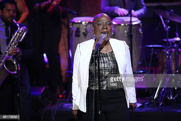 """Episode 949 -- Pictured: Musical guest Sharon Jones and The Dap-Kings perform """"Stranger to my Happiness"""" on Friday, January 10, 2014 --"""