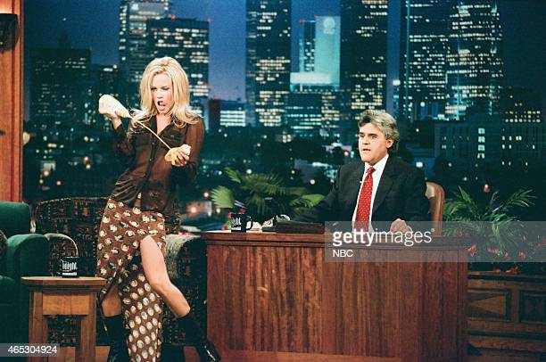 Actress Jenny McCarthy during an interview with host Jay Leno on June 25 1996