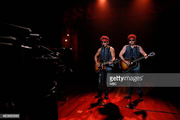 Bruce Springsteen and Jimmy Fallon perform 'Gov Christie Traffic Jam' on Tuesday January 14 2014