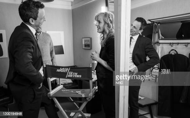 MEYERS Episode 951 Pictured Host Seth Meyers talks with comedian Maria Bamford backstage on February 11 2020