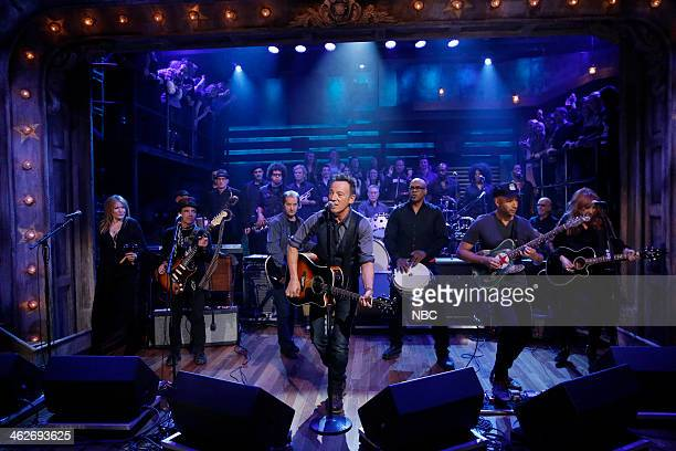 Episode 951 -- Pictured: Soozie Tyrell, Nils Lofgren, Garry Tallent, Bruce Springsteen, Max Weinberg, Everett Bradley, Tom Morello, Patti Scialfa of...