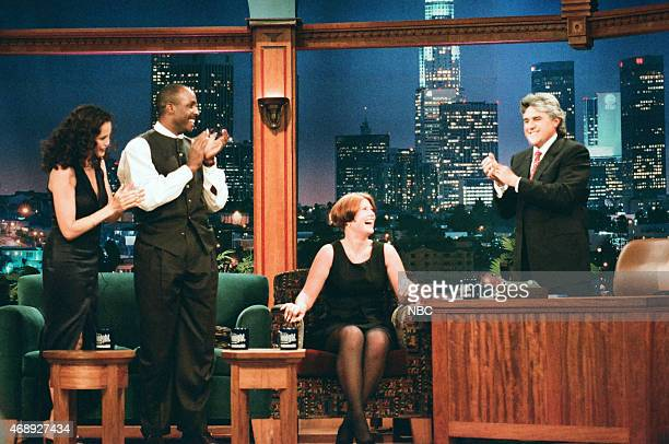 Actress Andie MacDowell professional baseball player Barry Bonds and chicken clucking champion Joy Knickman during an interview with host Jay Leno on...