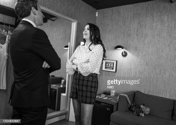MEYERS Episode 958 Pictured Host Seth Meyers talks with actor/comedian Cecily Strong backstage on March 2 2020