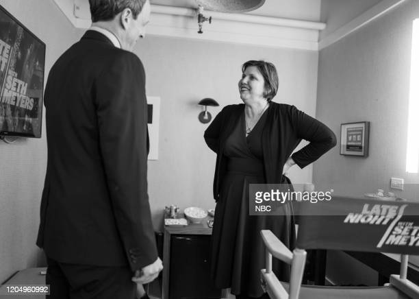 MEYERS Episode 959 Pictured Host Seth Meyers talks with author Jenny Offill backstage on March 3 2020