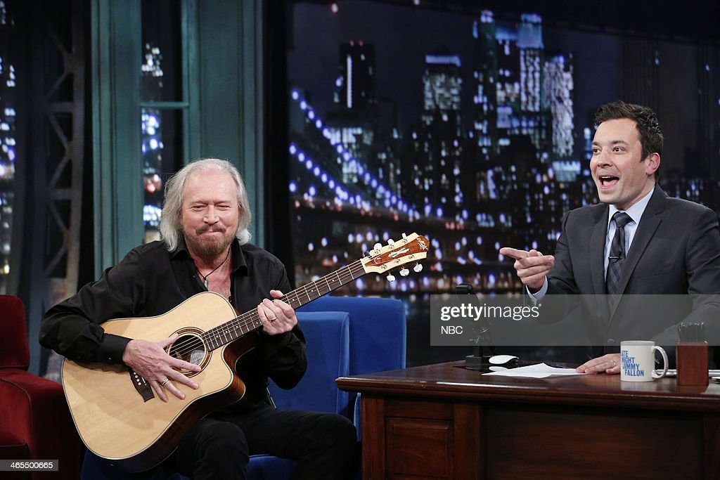 Barry Gibb with host Jimmy Fallon during an interview on Monday, January 27, 2014 --
