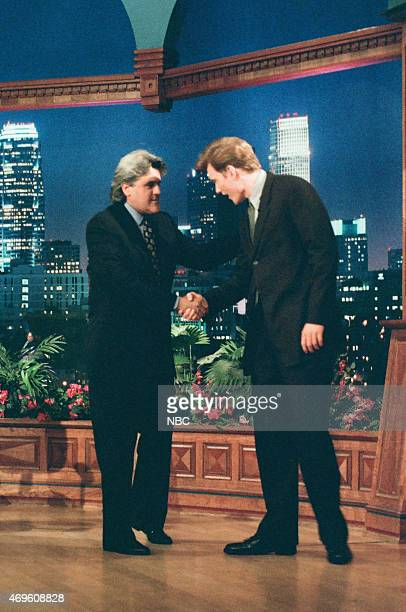 Episode 960 -- Pictured: Host Jay Leno greets talk show host Conan O'Brien as he arrives on July 15, 1996 --