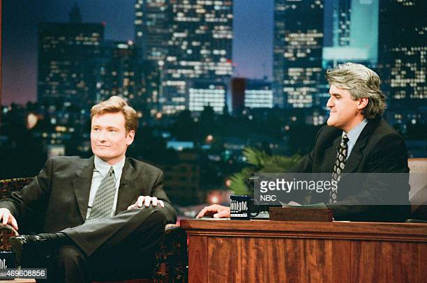 Episode 960 -- Pictured: Talk show host Conan O'Brien during an interview with host Jay Leno on July 15, 1996 --