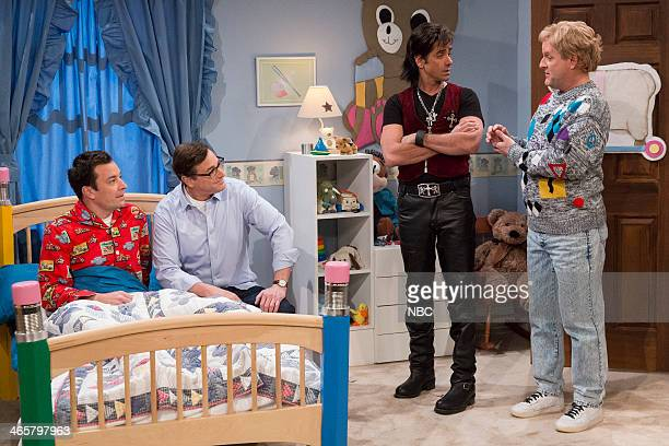 Host Jay Leno with former Full House cast members Bob Saget John Stamos and Dave Coulier make an appearance on Late Night with Jimmy Fallon on...