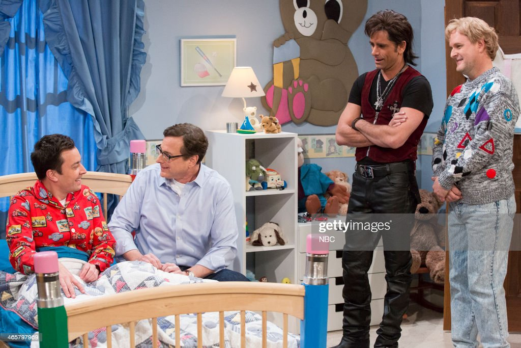 Host Jay Leno with former ?Full House? cast members Bob Saget, John Stamos and Dave Coulier make an appearance on ?Late Night with Jimmy Fallon? on Wednesday January 29, 2014 --