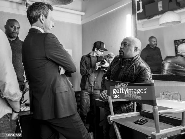 Episode 962 -- Pictured: Host Seth Meyers talks with Daymond John backstage on March 9, 2020 --