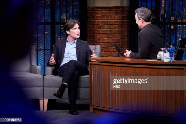 Actor Cillian Murphy during an interview with host Seth Meyers on March 10 2020
