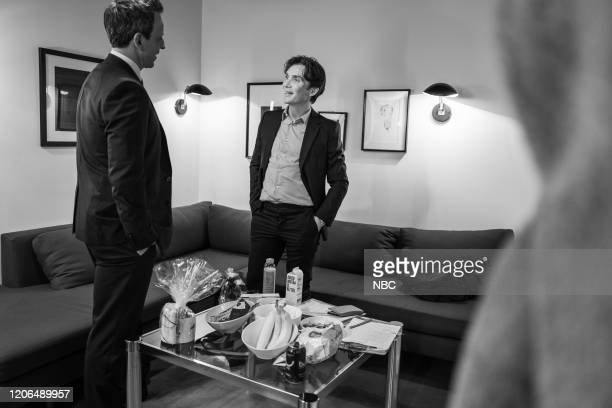 MEYERS Episode 963 Pictured Host Seth Meyers talks with actor Cillian Murphy backstage on March 10 2020