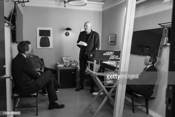 MEYERS Episode 963 Pictured Host Seth Meyers talks with writer David Simon backstage on March 10 2020