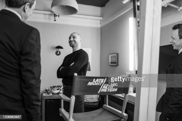 MEYERS Episode 964 Pictured Host Seth Meyers talks with actor Michael Mando backstage on March 11 2020