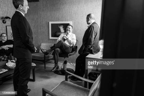 MEYERS Episode 964 Pictured Host Seth Meyers talks with actor Nick Offerman backstage on March 11 2020