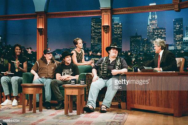 Episode 966 -- Pictured: Olympic basketball player Lisa Leslie, musicians Bobby Sheehan, Brendan Hill and John Popper of the musical guest Blues...
