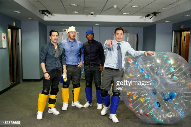 Colin Farrell Chris Pratt Frank F Knuckles and Jimmy Fallon play Bubble Soccer on Thursday February 6 2014
