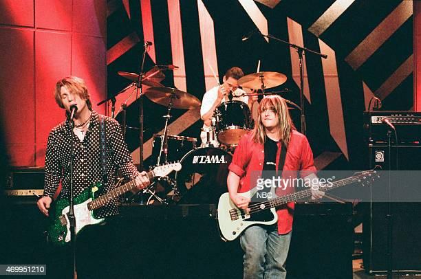 John Rzeznik Mike Malinin and Robby Takac of the musical guest Goo Goo Dolls on August 8 1996