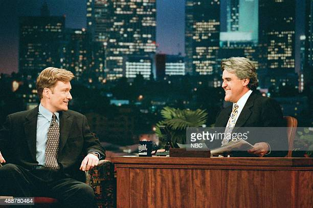 Episode 989 -- Pictured: Comedian Conan O'Brien during an interview with host Jay Leno on September 9, 1996 --