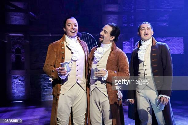 "Episode 994 -- Pictured: Host Jimmy Fallon, actor Lin-Manuel Miranda, and actor Rubén J. Carbajal during a performance from ""Hamilton"" on January 15,..."