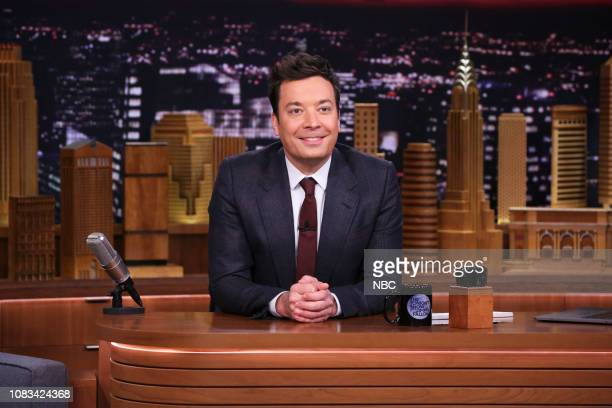 Host Jimmy Fallon arrives at his desk on January 16 2019