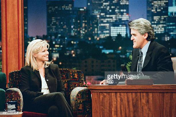 Actress Donna D'Errico during an interview with host Jay Leno on September 23 1996
