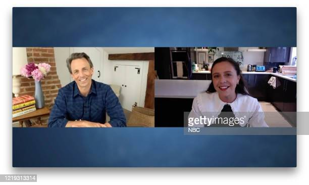 MEYERS Episode 999A Pictured in this screen grab Host Seth Meyers talks with actress Bel Powley on June 10 2020
