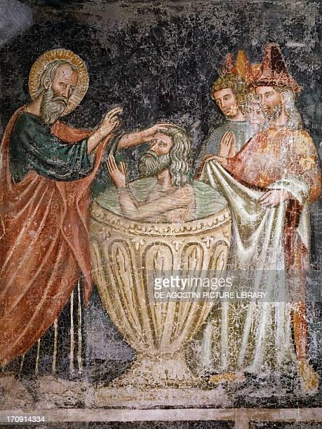 Episode from Life of Saint John the Evangelist fresco 14th century Loffredo Chapel Church of Santa Maria Donnaregina Naples Campania Italy