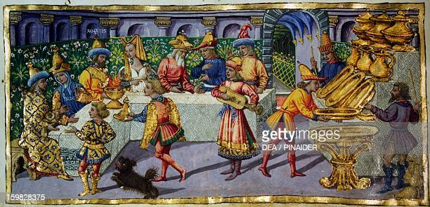 Episode from the Aeneid miniature by Apollonio di Giovanni from a Virgil manuscript Florence Biblioteca Riccardiana