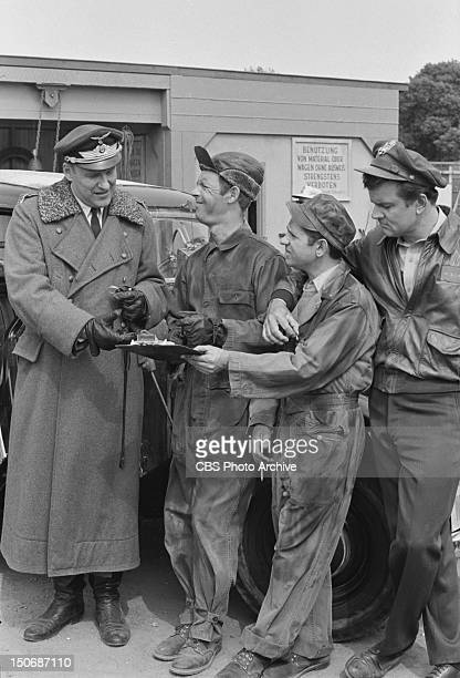 'Hogan's Trucking Service We Bring The Factory To You' From left Werner Klemperer as Col Wilhelm Klink Larry Hovis as Sgt Andrew Carter Robert Clary...