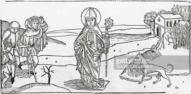 Episode in the life of John Chrysostom saint and Early church father Spanish engraving 1530