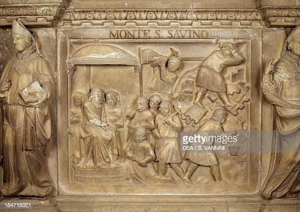 Episode in the life of the late Guido Tarlati, bishop and lord of the city of Arezzo, tile from the Cenotaph to Guido Tarlati John Augustine and...