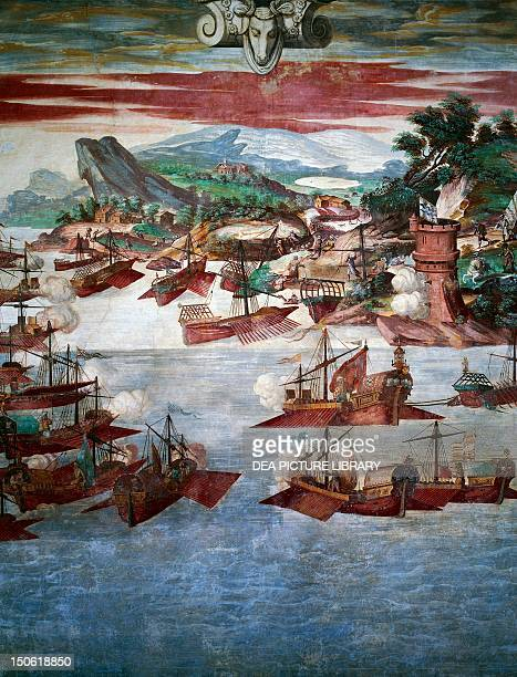Episode of seven galleons trapped in an ambush and victory for Admiral Alvaro Bazan over the Turkish fleet at Corcega Island 1565 Fresco at Palace of...