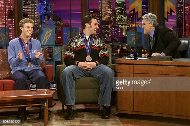 LENO Episode Olympic Show Pictured Figure skater Timothy Goebel and snowboarder Chris Klug during an interview with host Jay Leno on February 19 2002