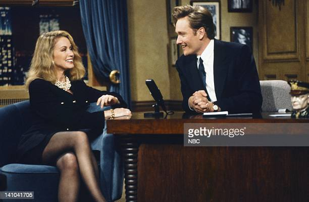 Actress Donna Mills host Conan O'Brien on October 19 1993 Photo by Lesly Weiner/NBC/NBCU Photo Bank