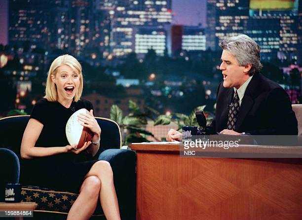 Actress Gwyneth Paltrow host Jay Leno during an interview on June 21 1998