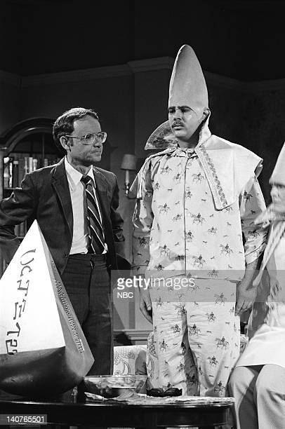 Buck Henry as Dr Ray Bondish Dan Aykroyd as Beldar Conehead during Return of the Coneheads skit on May 21 1977 Photo by NBCU Photo Bank