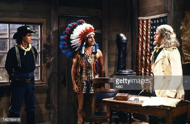Dennis Miller as sergeant Jon Lovitz as Jackie Jarvis Phil Hartman as General Custer during the 'Hollywood Salute' skit on October 15 1988 Photo by...