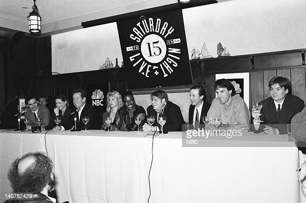 Episode -- Pictured: Dennis Miller, Julia Sweeney, Phil Hartman, Victoria Jackson, Chris Rock, Chris Farley, A. Whitney Brown, Kevin Nealon, Mike...