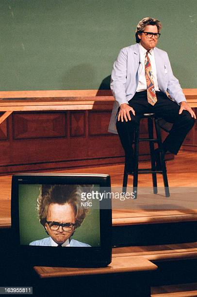 Host Jay Leno during the 'Mr Brain' skit on April 6 1995