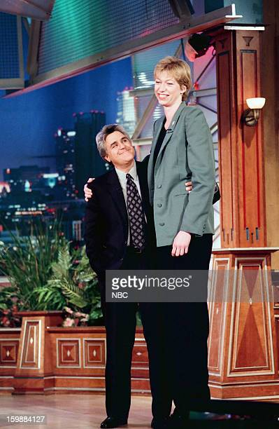 Host Jay Leno Professional basketball player Margo Dydek on June 21 1998