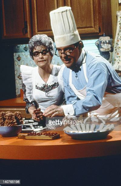 Jan Hooks as Eugene's Mom Phil Hartman as Eugene during Cooking with the Anal Retentive Chef skit on May 12 1990 Photo by Alan Singer/NBCU Photo Bank